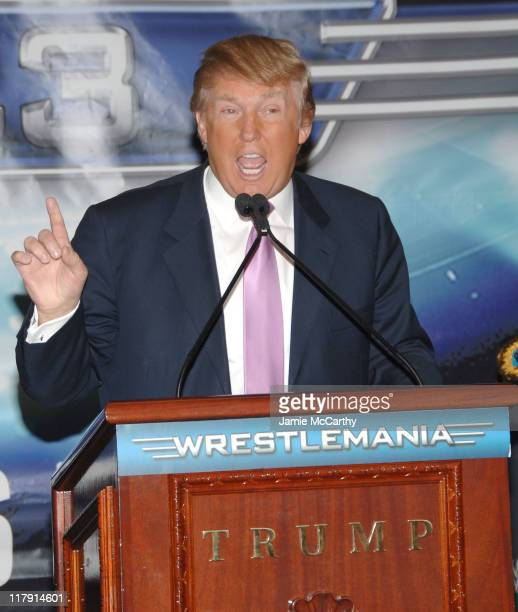 Donald Trump during Donald Trump and WWE News Conference for WrestleMania 23 March 28 2007 at Trump Tower in New York City New York United States