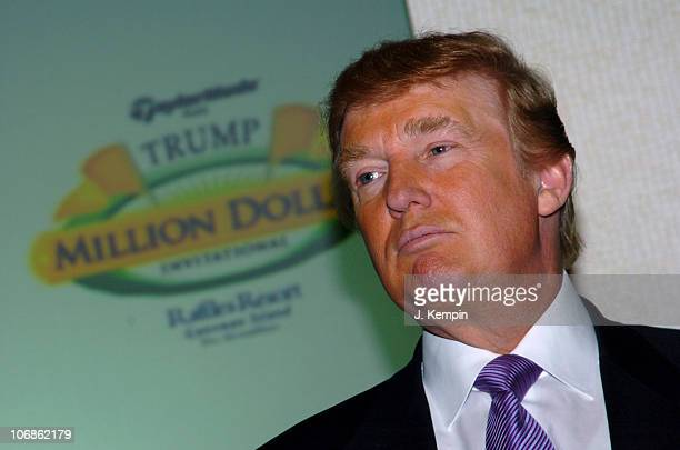 Donald Trump during Donald Trump Announces New Golf Tournament with One Million Dollar Prize on His First Ever International Golf Course at Trump...