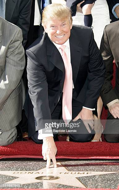 Donald Trump during Donald Trump Honored with Hollywood Walk of Fame Star at Hollywood Boulevard in Hollywood California United States