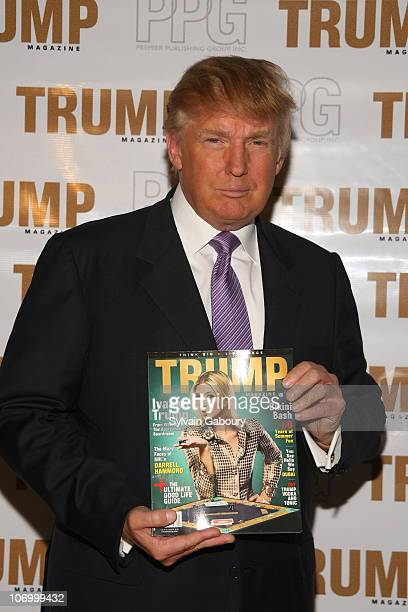 Donald Trump during Trump Magazine Celebrates 'Going Public' with Donald and Ivanka Trump at Trump Towers in New York NY United States