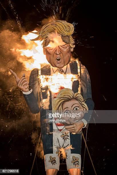 Donald Trump Effigy Is Burnt At Edenbridge Bonfire Night on November 5 2016 in Edenbridge England