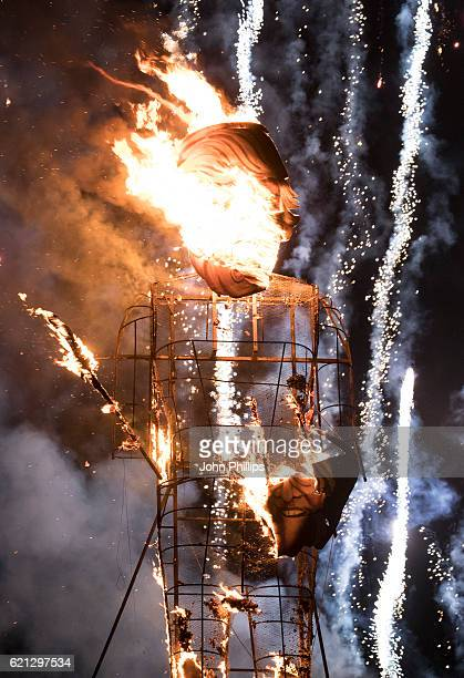 Donald Trump Effigy Is Burnt At Edenbridge Bonfire Night on November 5 2016 in Edenbridge England