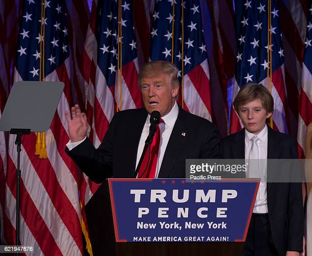 Donald Trump elected 45th President of USA speaks on stage during victory party at Hilton hotel New York