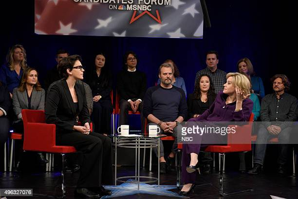"""Donald Trump"""" Episode 1687 -- Pictured: Cecily Strong as Rachel Maddow and Kate McKinnon as Hillary Rodham Clinton during the """"MSNBC Forum Cold Open""""..."""