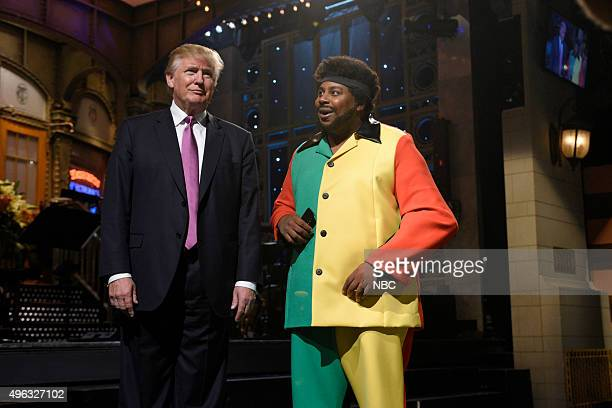 LIVE Donald Trump Episode 1687 Pictured Donald Trump and Kenan Thompson as Toots Hibbert during the Toots Song Intro sketch on November 7 2015