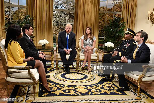 """Donald Trump"""" Episode 1687 -- Pictured: Sasheer Zamata as Omarosa, Bobby Moynihan, Donald Trump as the President of The United States, Cecily Strong..."""