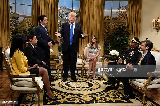 LIVE 'Donald Trump' Episode 1687 Pictured Sasheer Zamata as Omarosa Bobby Moynihan Beck Bennett Donald Trump as the President of The United States...