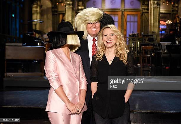 "Donald Trump"" Episode 1687 -- Pictured: Sia, Donald Trump, and Kate McKinnon on November 5, 2015 --"