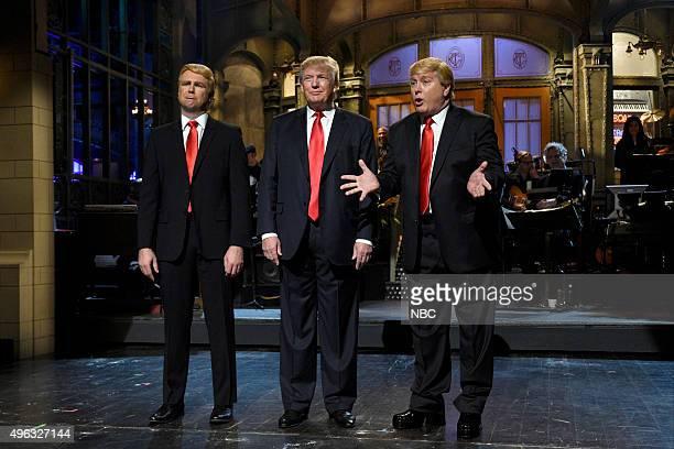 LIVE 'Donald Trump' Episode 1687 Pictured Taran Killam Donald Trump and Darrell Hammond during the monologue on November 7 2015