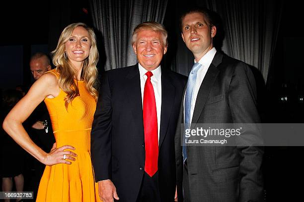 Donald Trump Eric Trump and Lara Yunaska attend the New York Observer's 2013 Young Philanthropy event at PHD Rooftop Lounge at Dream Downtown on...