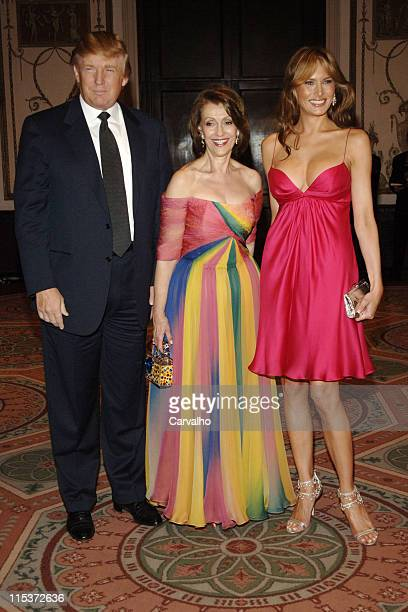 Donald Trump Evelyn Lauder and Melania Trump during The Breast Cancer Research Foundation's Annual Red Hot Pink Party Inside Arrivals at Waldorf...