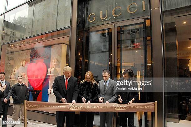 Donald Trump Frida Giannini Mark Lee and Daniella Vitale attend DONALD TRUMP Joins GUCCI for Ribbon Cutting of the FIFTH AVENUE FLAGSHIP GUCCI STORE...