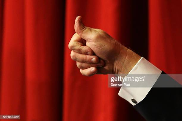 Donald Trump gives the thumbsup after speaking at the Lawrenceville National Guard Armory May 19 2016 in Lawrenceville New Jersey The appearance with...