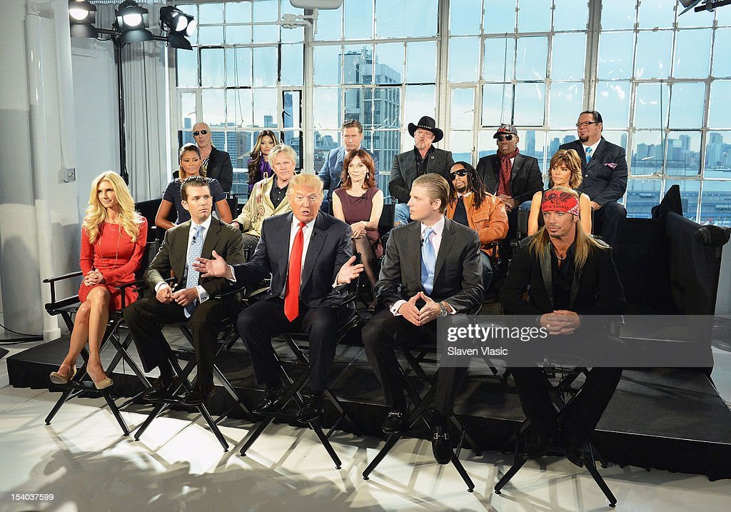 Donald Trump (C), his sons Eric F. Trump, Donald Trump Jr. and Season 13 contestants attend the 'Celebrity Apprentice All Stars' Season 13 Press Conference at Jack Studios on October 12, 2012 in New York City.