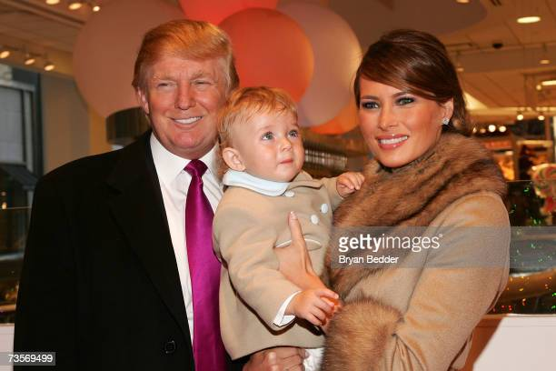 Donald Trump his wife Melania Trump and their son Barron attend the Society of Memorial SloanKettering Cancer Center's 16th Annual Bunny Hop at FAO...