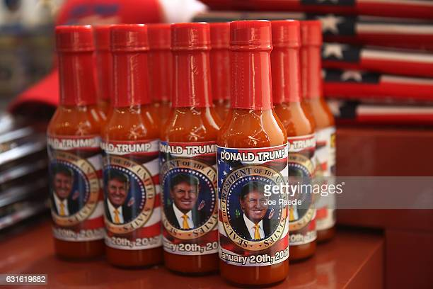Donald Trump hot sauce is seen for sale on the store shelf of Stars and Stripes store as President elect Donald Trump prepares to take the reins of...