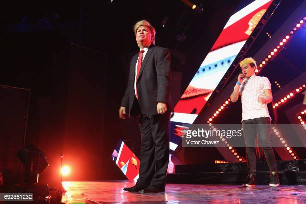 Donald Trump impersonator performs on stage during the MTV MIAW Awards 2017 at Palacio de Los Deportes on June 3 2017 in Mexico City Mexico