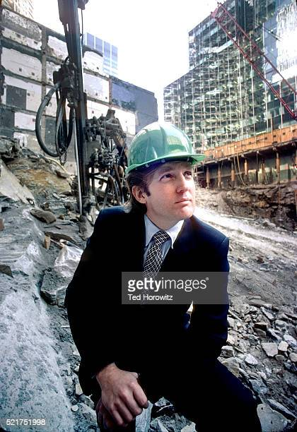 donald trump in construction site of trump tower, fifth avenue, new york city, 1980. - donald trump hard hat stock pictures, royalty-free photos & images