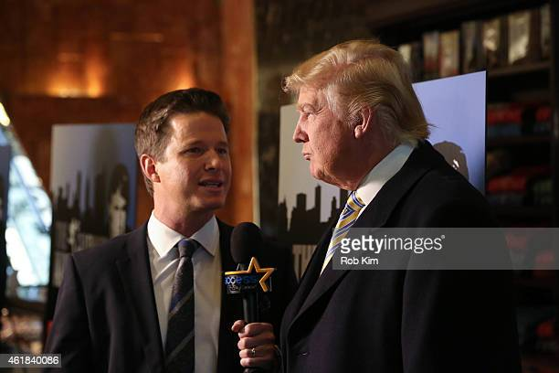 Donald Trump is interviewed by Billy Bush of Access Hollywood at 'Celebrity Apprentice' Red Carpet Event at Trump Tower on January 20 2015 in New...