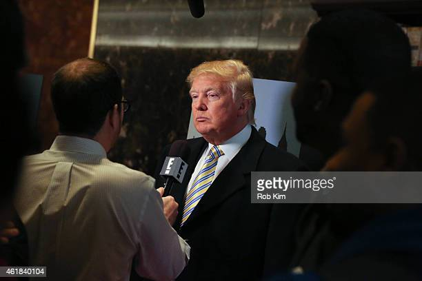 Donald Trump is interviewed by media at Celebrity Apprentice Red Carpet Event at Trump Tower on January 20 2015 in New York City