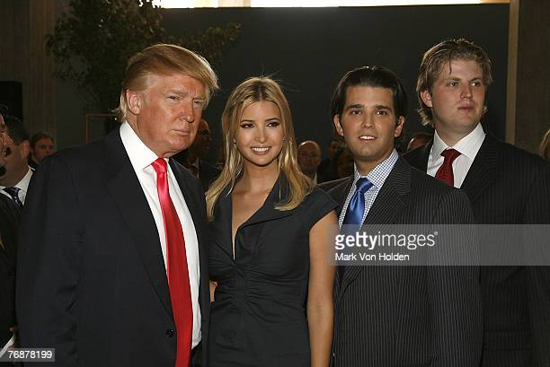 Donald Trump Ivanka Trump Donald Trump Jr and Eric Trump pose at the Trump Soho Launch on September 19 2007 in New York City