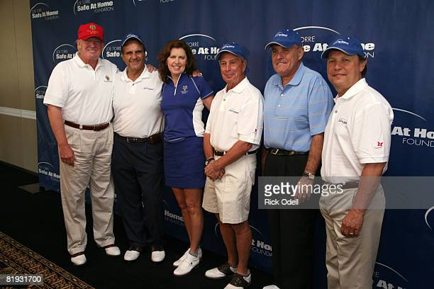 Donald Trump Joe Torre Ali Torre Mayor Michael R Bloomberg Rudolph W Giuliani and Billy Crystal attend the 2008 Joe Torre Safe at Home Foundation...