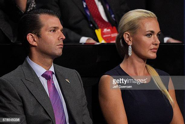 Donald Trump Jr along with his wife Vanessa Trump attend the evening session on the fourth day of the Republican National Convention on July 21 2016...