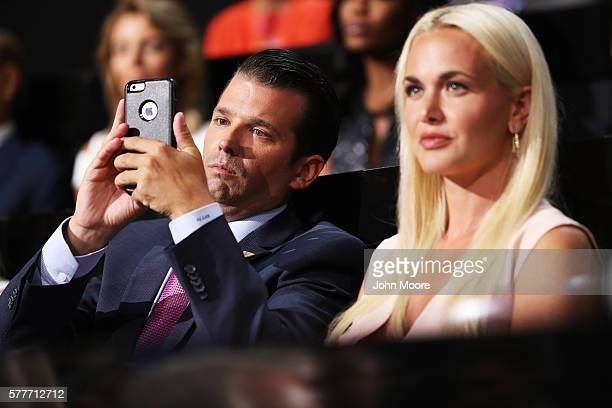 Donald Trump Jr along with his wife Vanessa Trump attend the second day of the Republican National Convention on July 19 2016 at the Quicken Loans...