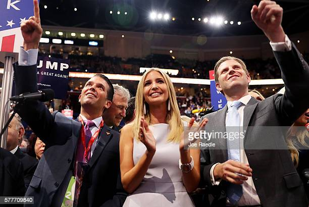 Donald Trump Jr along with Ivanka Trump and Eric Trump take part in the roll call in support of Republican presidential candidate Donald Trump on the...