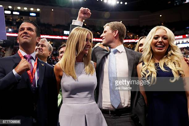 Donald Trump Jr along with Ivanka Trump Eric Trump and Tiffany Trump take part in the roll call in support of Republican presidential candidate...