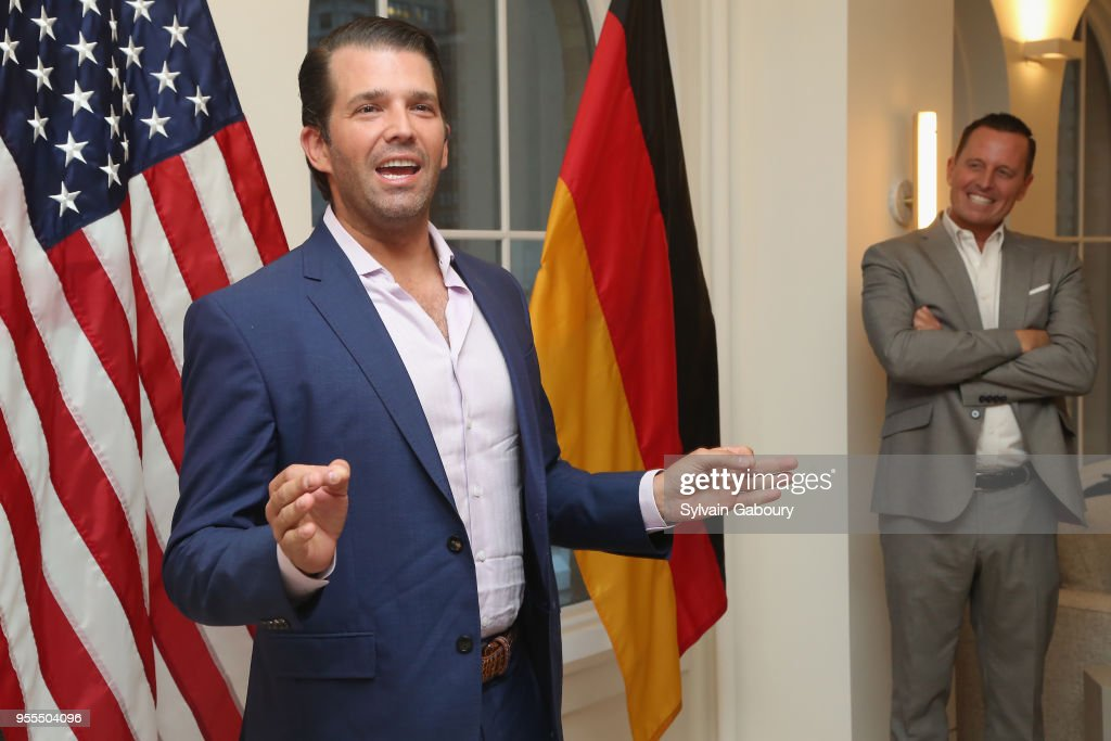 Donald Trump Jr. and Ambassador Richard Grenell attend Ambassador Grenell Goodbye Bash on May 6, 2018 in New York City.