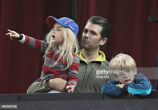 Donald Trump Jr and children attend the 2018 Professional Bull Riders Monster Energy Buck Off at the Garden at Madison Square Garden on January 7...