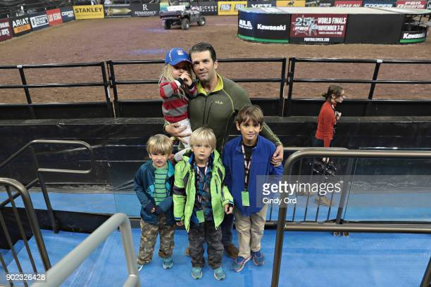 Donald Trump Jr and children Chloe Trump Spencer Trump Tristan Trump and Donald Trump III attend the 2018 Professional Bull Riders Monster Energy...