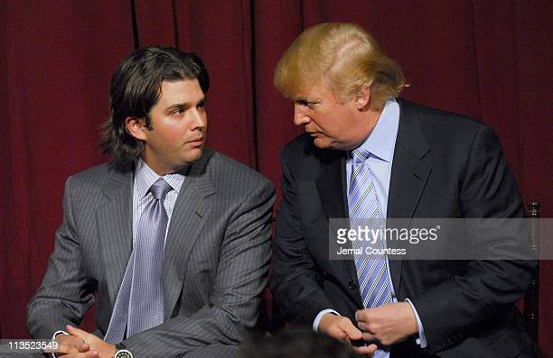 Donald Trump Jr and Donald Trump during Donald Trump New York City Press Launch For Latest Venture Trump Mortgage LLC at Trump Tower in New York City...