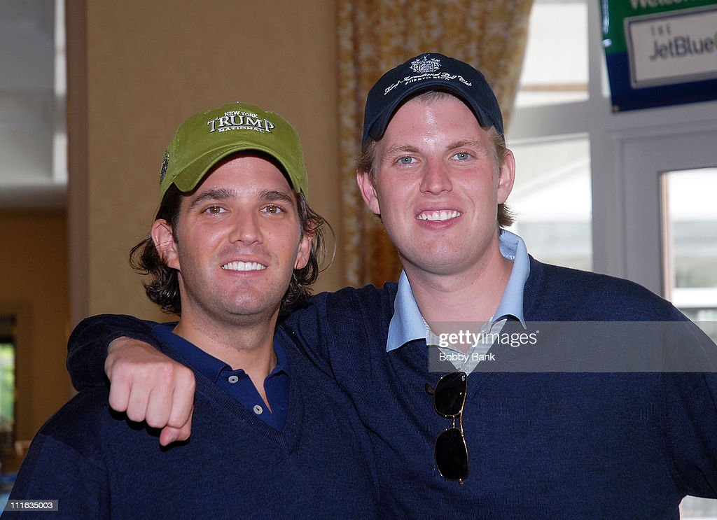 Donald Trump Jr and Eric Trump attend the 2008 Eric Trump Foundation Golf Outing at the Trump National Golf Club on September 16, 2008 in Westchester, New York.