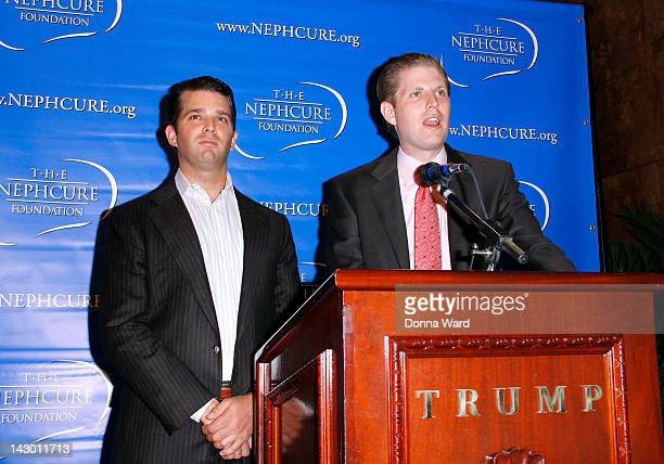 Donald Trump Jr and Eric Trump attend the 'Celebrity Apprentice' NephCure Foundation press conference at Trump Tower on April 17 2012 in New York City
