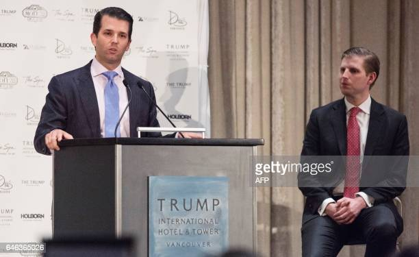 Donald Trump Jr and Eric Trump attend the inauguration ceremeony for the Trump International Hotel and Tower in Vancouver Canada on February 28 2017...