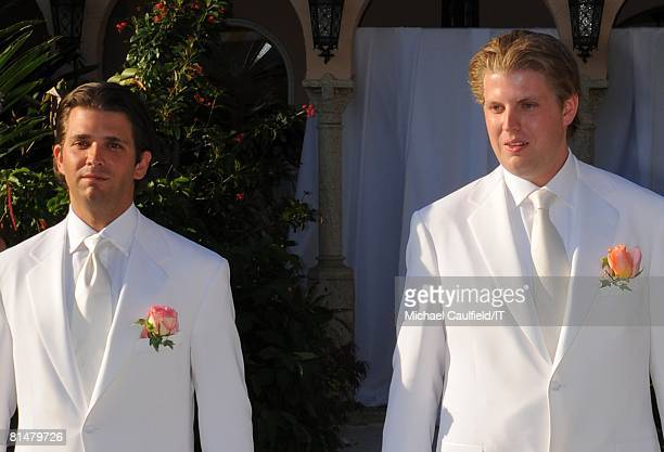 Donald Trump Jr and Eric Trump during the wedding of Ivana Trump and Rossano Rubicondi at the MaraLago Club on April 12 2008 in Palm Beach Florida