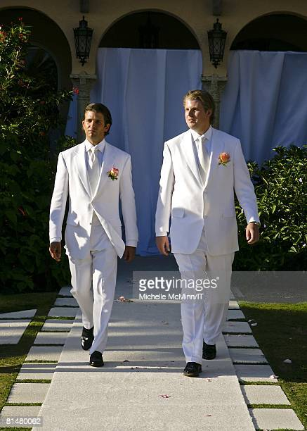 RATES Donald Trump Jr and Eric Trump during the wedding of Ivana Trump and Rossano Rubicondi at the MaraLago Club on April 12 2008 in Palm Beach...