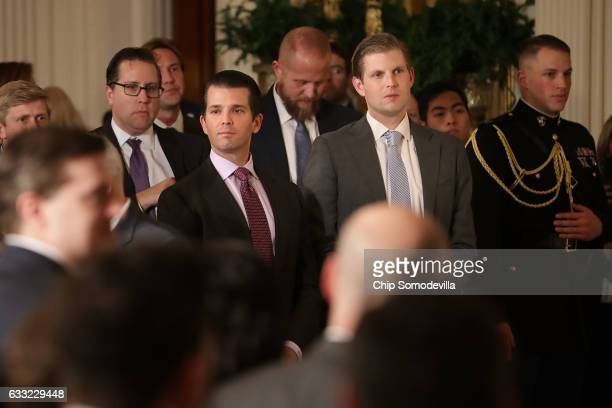 Donald Trump Jr and Eric Trump sons of US President Donald Trump attend the ceremony to nominate Judge Neil Gorsuch to the Supreme Court in the East...