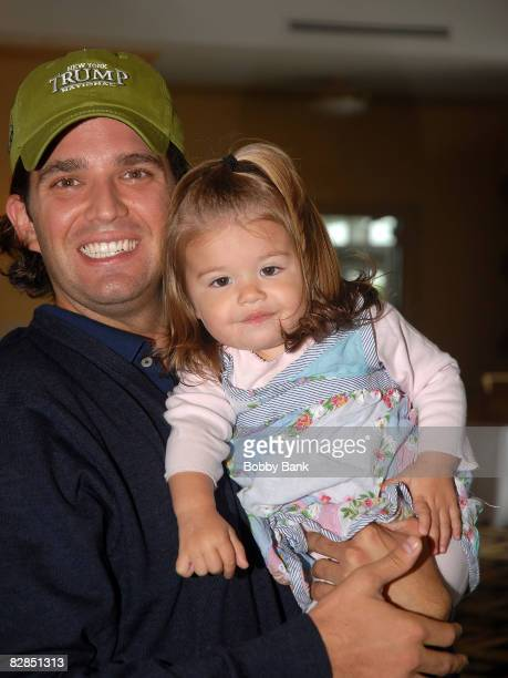 Donald Trump Jr and his 16 month old daughter Kai Madison Trump attend the 2008 Eric Trump Foundation Golf Outing at the Trump National Golf Club on...