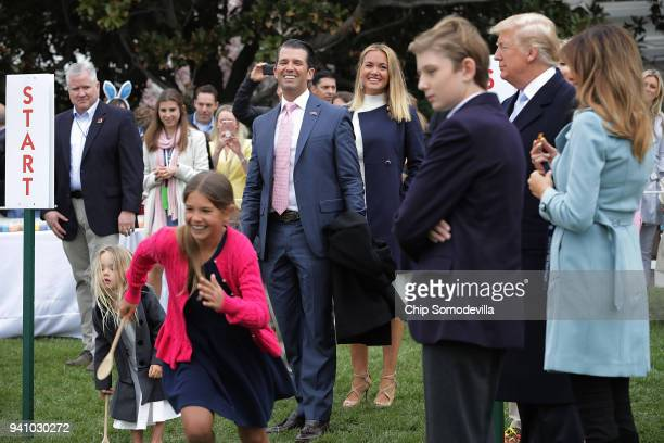 Donald Trump Jr and his wife Vanessa Trump attend the 140th annual Easter Egg Roll with their five children Barron Trump President Donald Trump and...