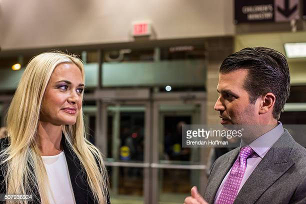 Donald Trump Jr and his wife Vanessa Trump greet Republican caucusgoers in precinct 317 at Valley Church ahead of the party caucus on February 1 2016...