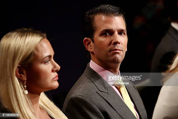Donald Trump Jr and his wife Vanessa Trump wait for the start of the third US presidential debate at the Thomas Mack Center on October 19 2016 in Las...