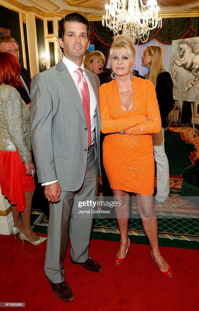 Donald Trump Jr. and Ivana Trump attend the exhibition of artwork featuring Giovanni Perrone and hosted by Ivana Trump and Mark Antonio Rota on April 30, 2013 in New York City.