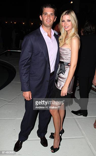 Donald Trump Jr and Ivanka Trump attend the Drinks Dinner and Disco Party the night before the wedding of Ivana Trump and Rossano Rubicondi at the...