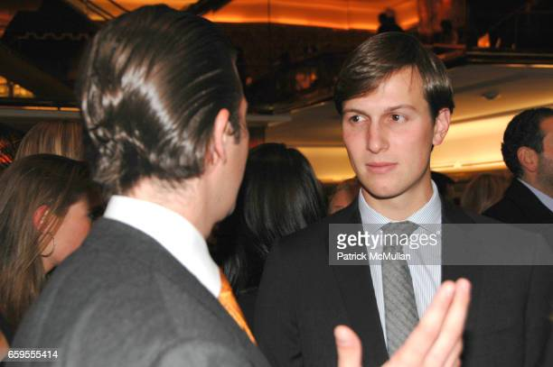 Donald Trump Jr and Jared Kushner attend Quest and Q Magazines Host Ivanka Trump Book Party at Trump Tower on October 14 2009 in New York City