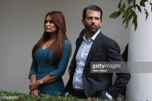 Donald Trump Jr and Kimberly Guilfoyle arrive to a press conference on the census by President Trump in the Rose Garden of the White House on July 11...