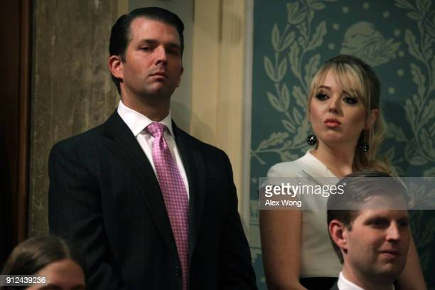 Donald Trump Jr and Tiffany Trump attend the State of the Union address in the chamber of the US House of Representatives January 30 2018 in...