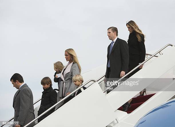 Donald Trump Jr and wife Vanessa arrive at Joint Base Andrews with their children Donald Trump III Chloe Sophia Trump and Spencer Frederick Trump as...